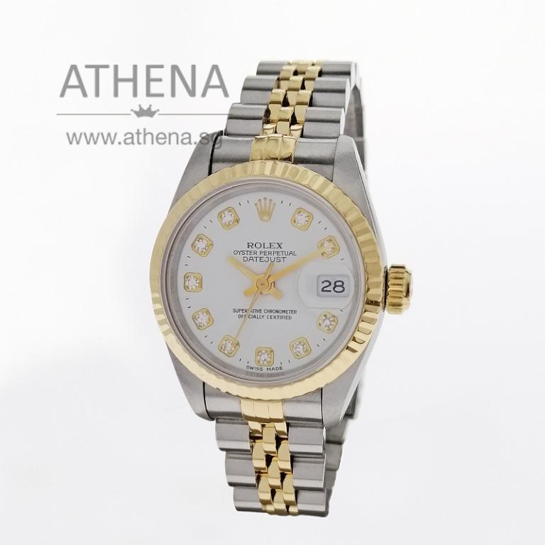 """ROLEX """"HALF-GOLD"""" OYSTER PERPETUAL LADIES DATEJUST """"S"""" SERIES """"WHITE DIAMOND DIAL"""" WITH CERT 69173 (LOCAL AD) JGWRL_1009"""