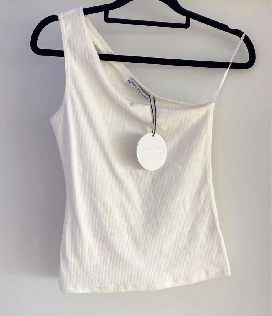 Atmos&Here One Shoulder White Top