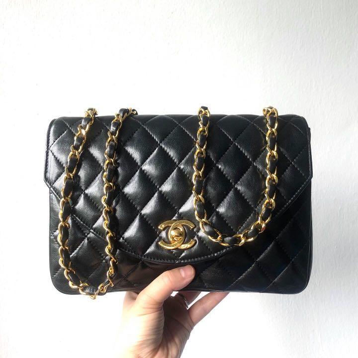Authentic Chanel Crossbody Flap Bag w 24k Gold Hardware