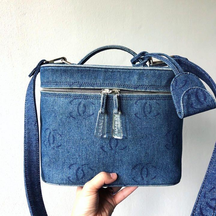 Authentic Chanel Denim Crossbody Vanity Bag w Silver Hardware