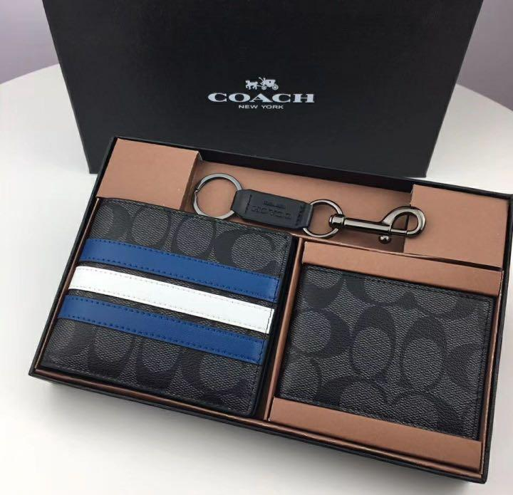 Authentic Coach 3-in-1 Wallet In Signature Canvas With Varsity Stripe (F26072)