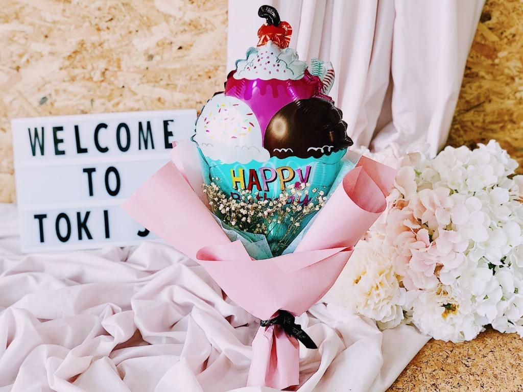 Balloon Flowers Bouquet Happy Birthday Ice Cream Sundae Gardening Flowers Bouquets On Carousell