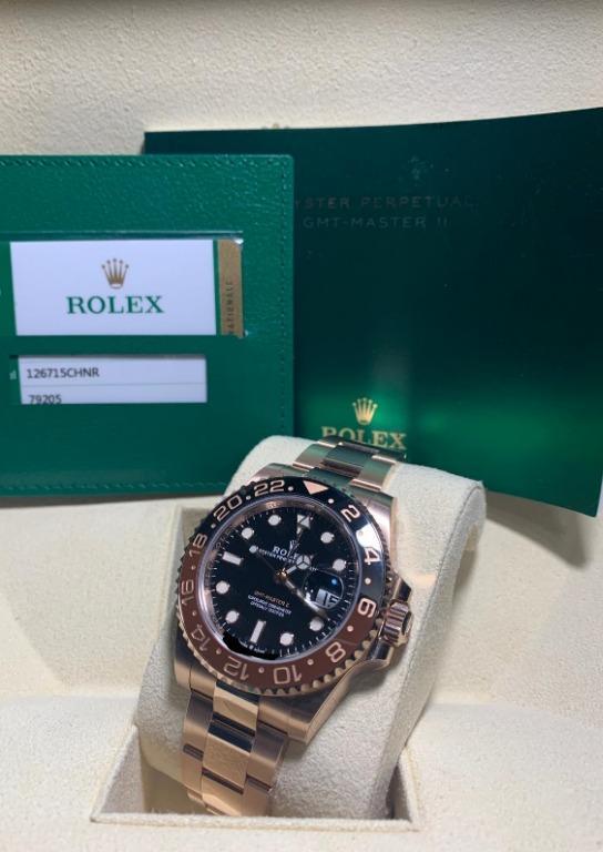 BNIB Stickered Rolex GMT Master II 126715CHNR Full Solid Everose Rootbeer