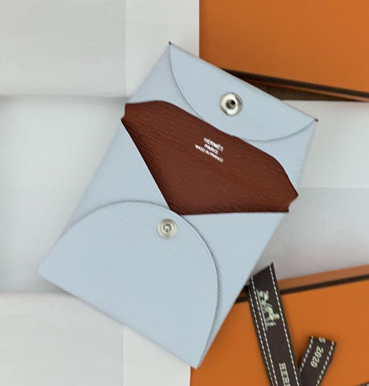 Brand new authentic Hermes Cherve Bastia coin purse Blue Brume and Brique to match with your birkin Kelly and Constance