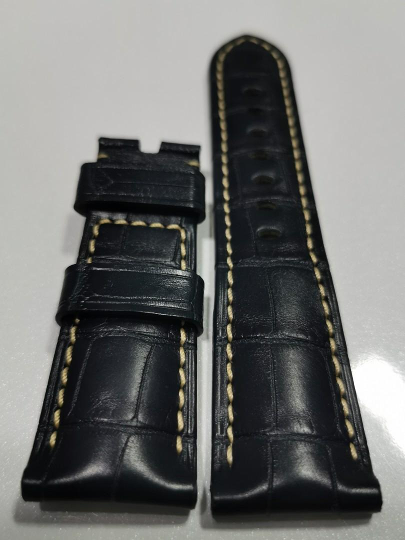 Brand New Authentic Panerai 26mm Alligator Watch Strap. Navy with Off White/Cream Coloured Stitching.