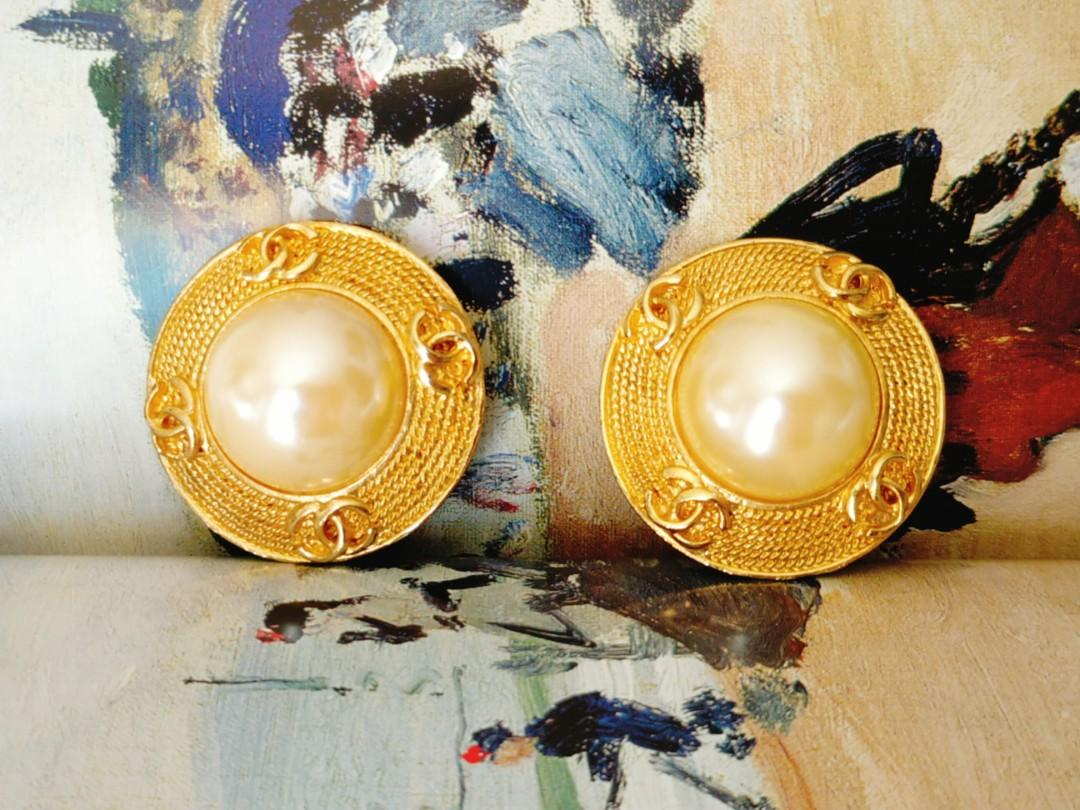 Chanel 香奈兒 vintage 古董珍珠 耳夾