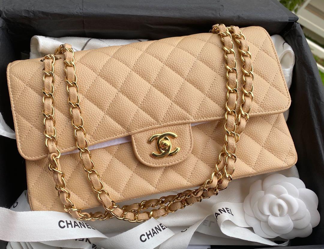 Chanel classic medium beige Claire ghw