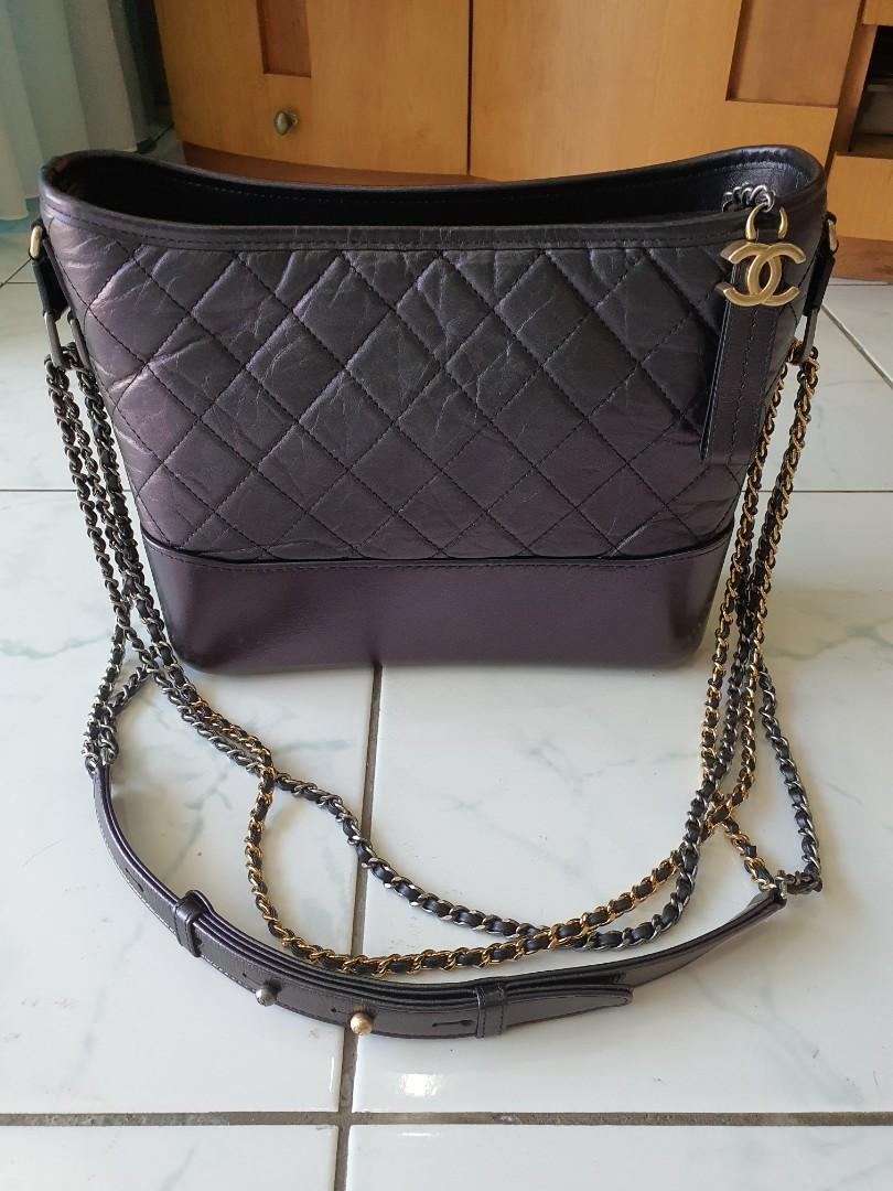 Chanel irridescent black gabrielle old medium