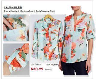 CK Floral V-Neck Shirt
