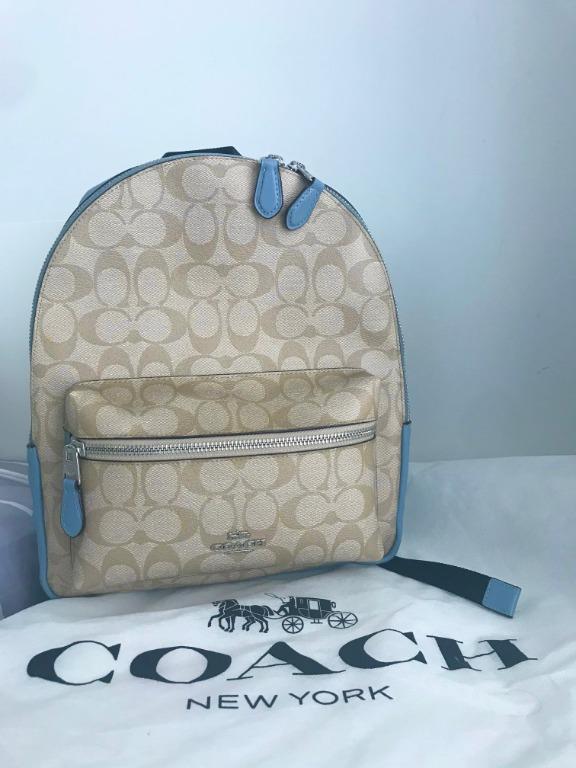 Coach Signature Mini Charlie Backpack: Pool Blue and Light Khaki