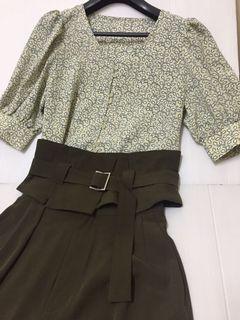 COCO DEAL 綠色開衩落地長褲 附寬版腰帶