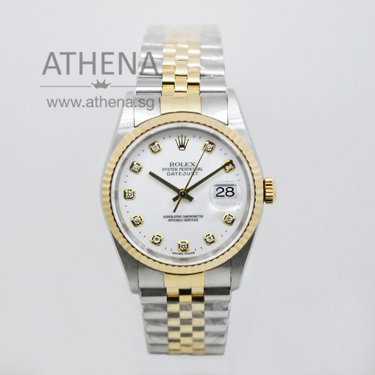 "ROLEX ""HALF-GOLD"" MENS OYSTER PERPETUAL DATEJUST ""W"" SERIES ""WHITE CERAMIC DIAMOND DIAL"" 16233 WLWRL_1113"