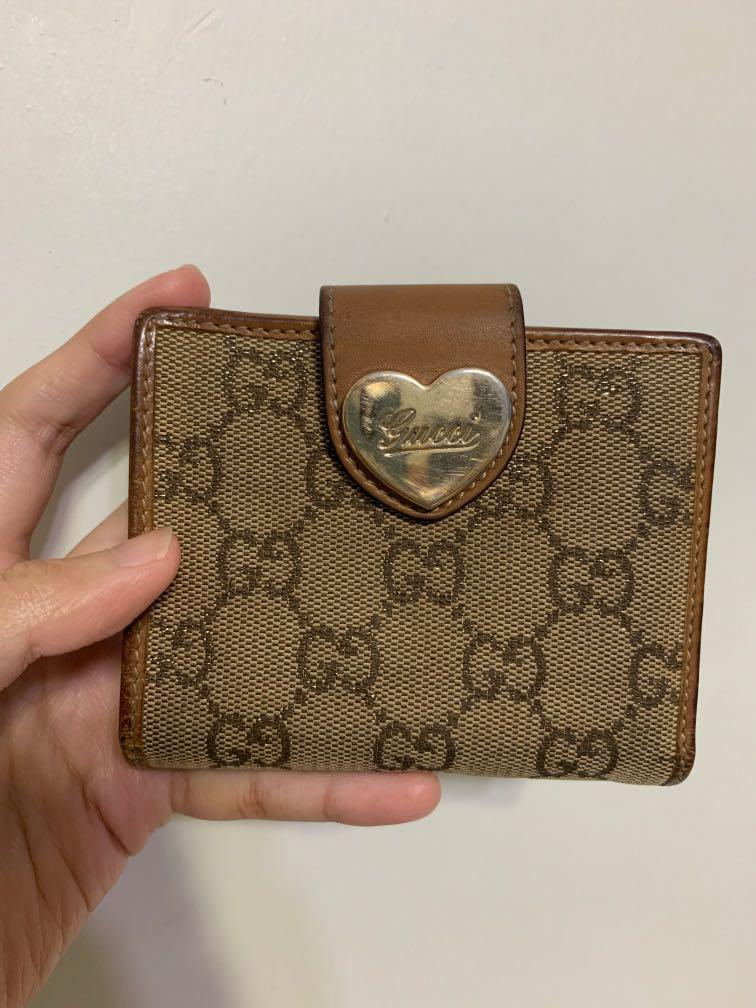 Gucci Limited Edition Classic Monogram Canvas Bifold Wallet with Heart