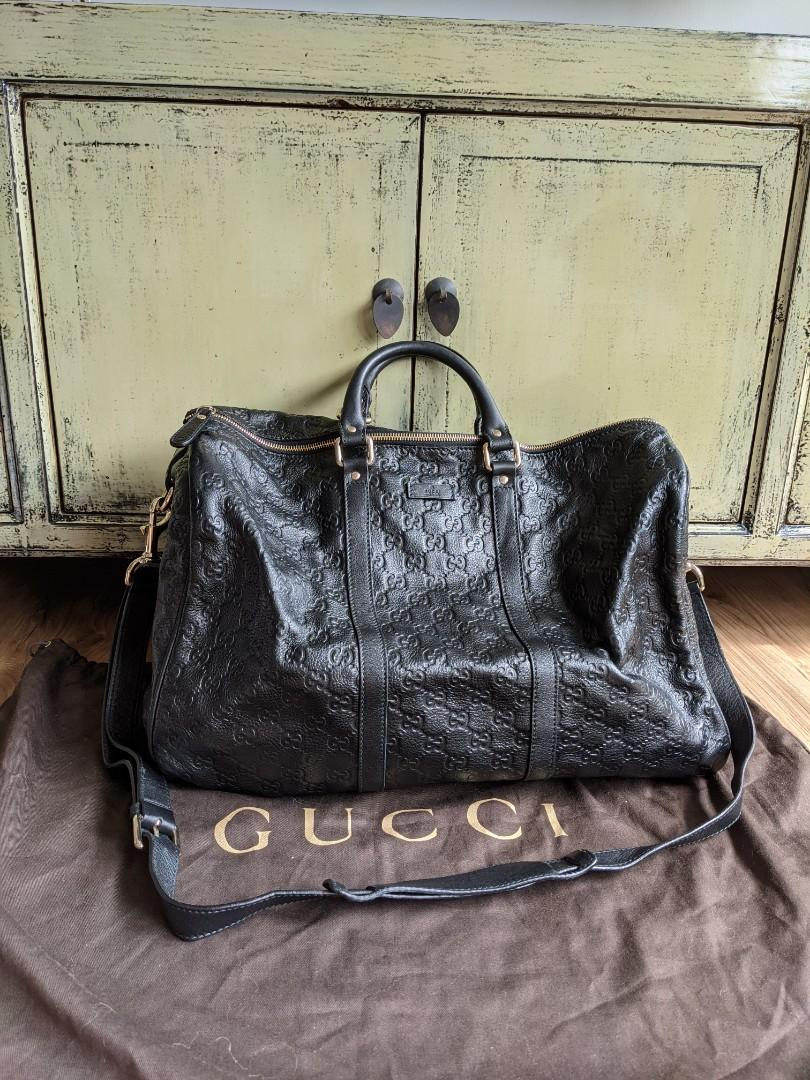 Gucci Guccissima black leather duffle bag, weekend, luxury, genuine
