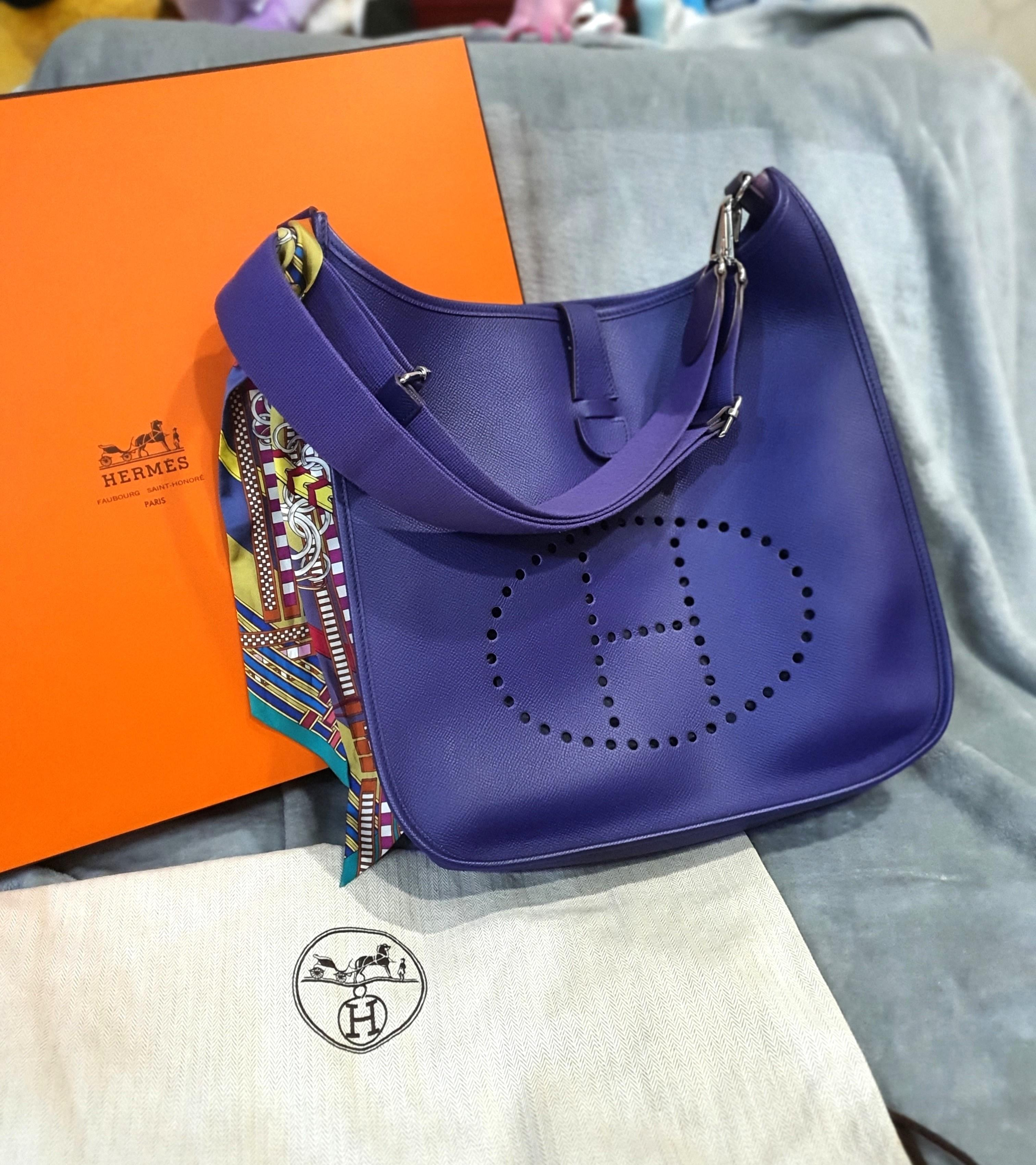 💜💜Hermes Evelyne III 33 Epson PHW in Crocus - Full Set incl Receipt Immaculate Condition