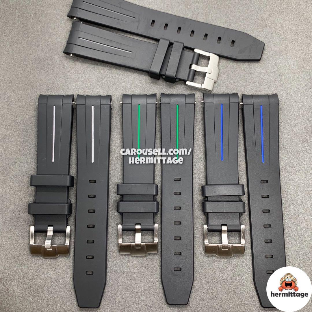 [INSTOCK] AFTERMARKET 20MM RUBBER B WATCH STRAP WITH TANG BUCKLE - BLACK/ WHITE/ GREEN/ BLUE. suitable for rolex submariner daytona gmt explorer yachtmaster seadweller
