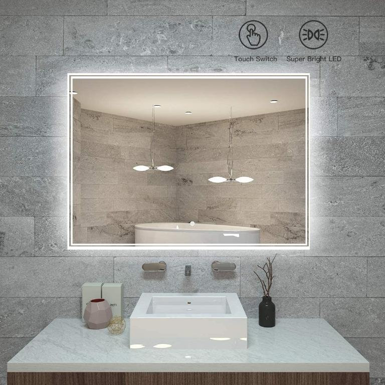 Kaasun 25 X 18 Inch Led Bathroom Wall Mounted Backlit Vanity Mirror High Lumen Anti Fog Waterproof Horizontal Installation With Touch Switch Electronics Others On Carousell