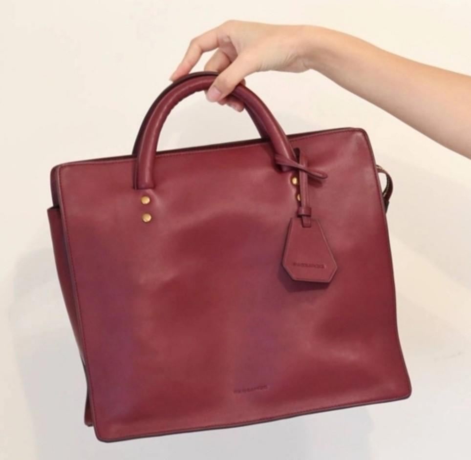 Leather Tote Bag Rabeanco Red wine 85538