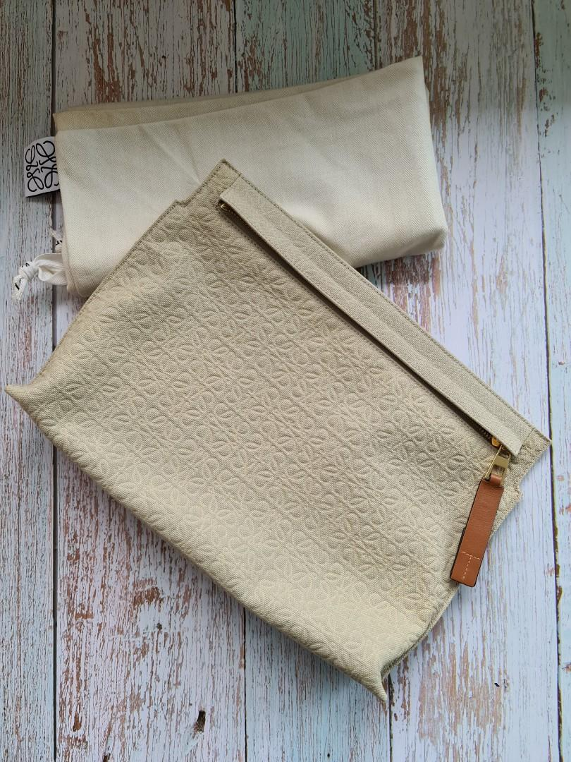 Loewe Canvas T Pouch / clutch (authentic, taupe)