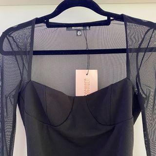 Mesh Long Sleeve Cup Detail Bodysuit