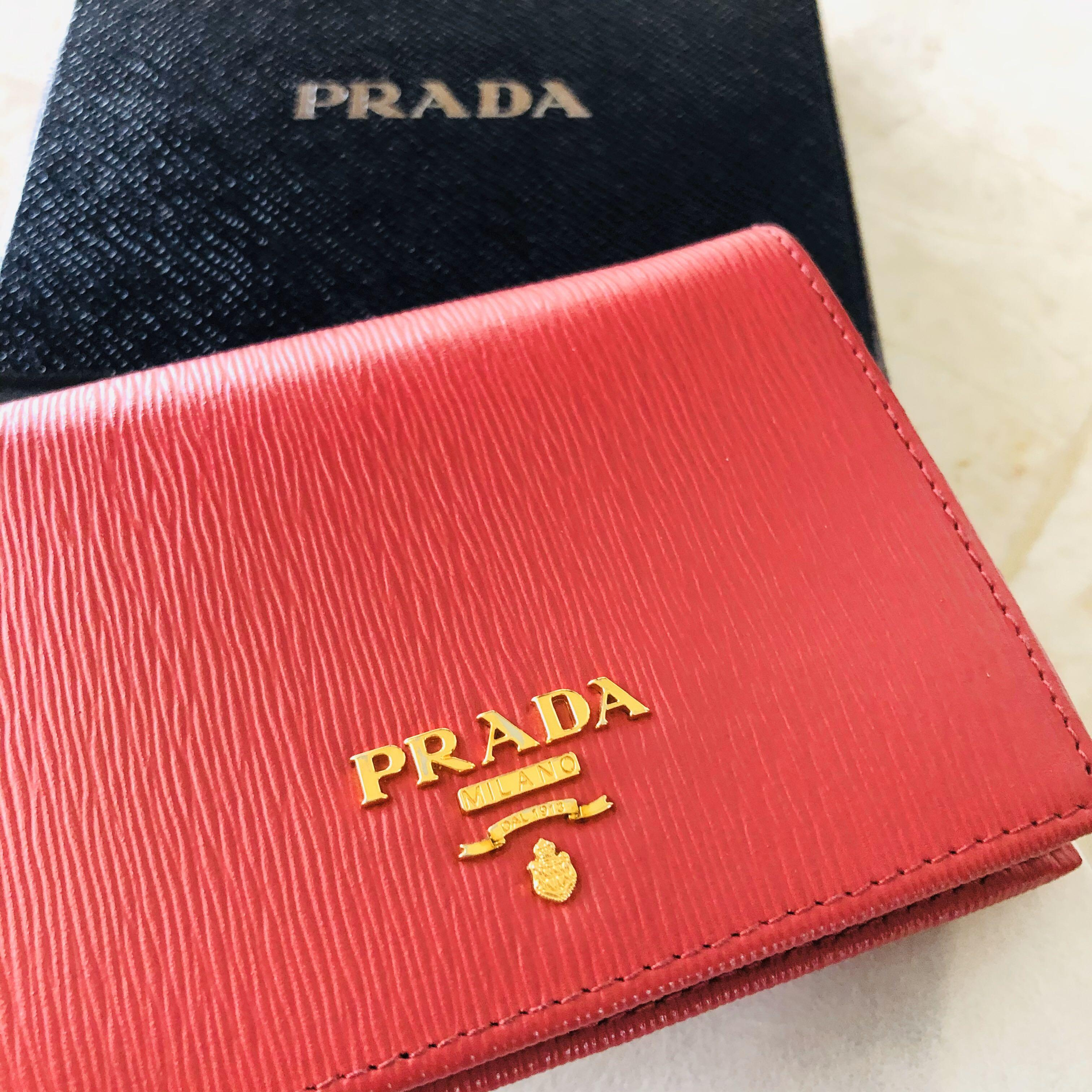 New Prada Saffiano Wallet Womens Pink Small Gold Leather Box