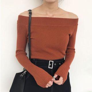 Yesstyle | Orange/Tangerine Red Boatneck Off-shoulder Sweater Long-sleeve Top Shirt
