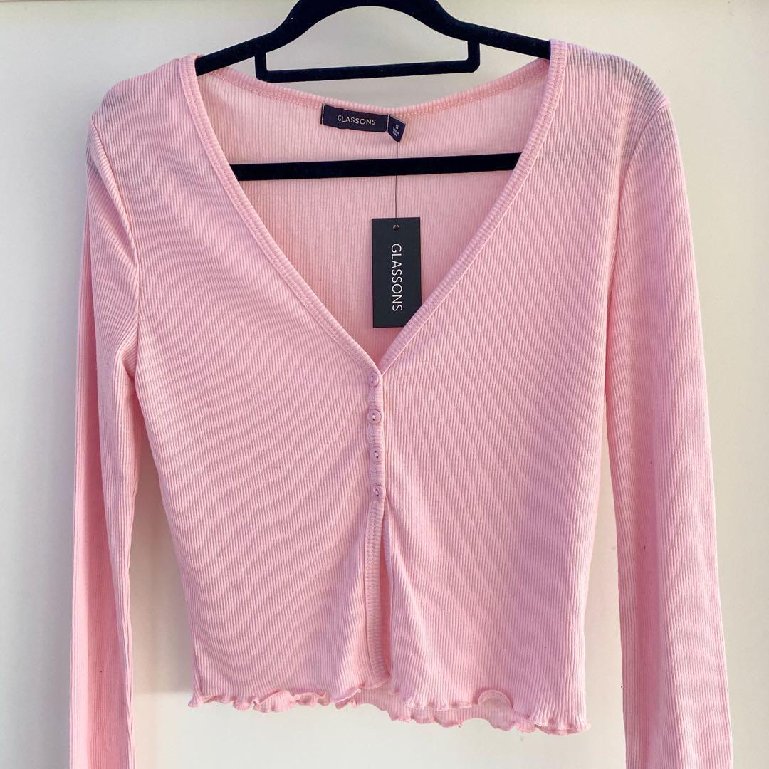 Pink Button Split Front Long Sleeve Top