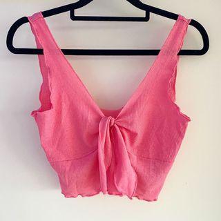 Pink Tie Front Crop Top