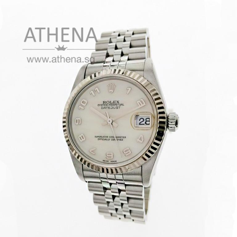 """ROLEX MID-SIZE OYSTER PERPETUAL DATEJUST """"A"""" SERIES """"WHITE MOP ARABIC NUMERAL DIAL"""" WITH CERT 78274 (LOCAL AD) JWWRL_1461"""