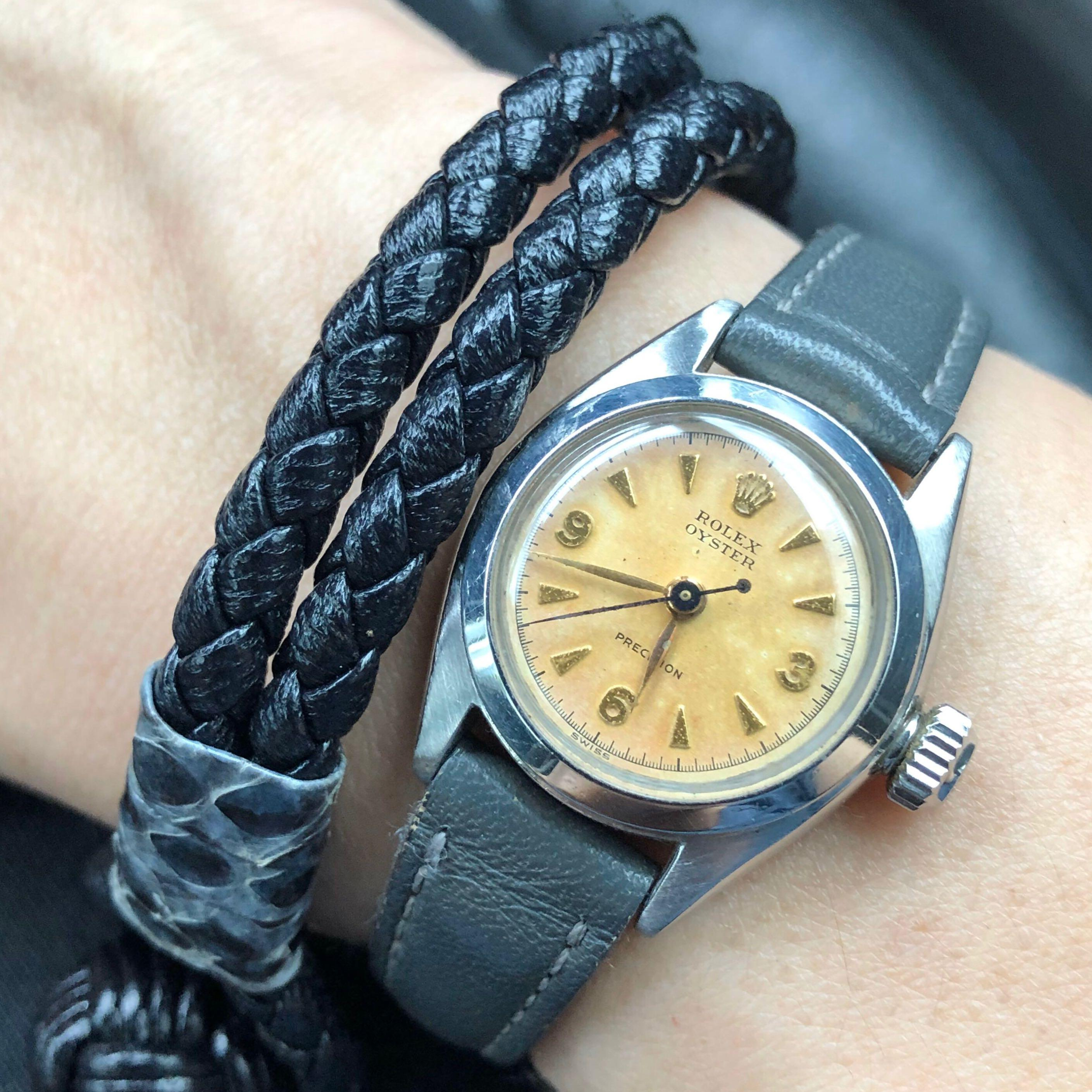 SOLD-     Rolex Lady Oyster Precision w Uncommon Tropical Factory Explorer Dial