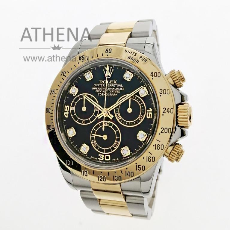 """ROLEX YELLOW ROLESOR OYSTER PERPETUAL COSMOGRAPH DAYTONA """"F"""" SERIES """"BLACK DIAMOND DIAL"""" WITH CERT 116523 JGWRL_1379"""