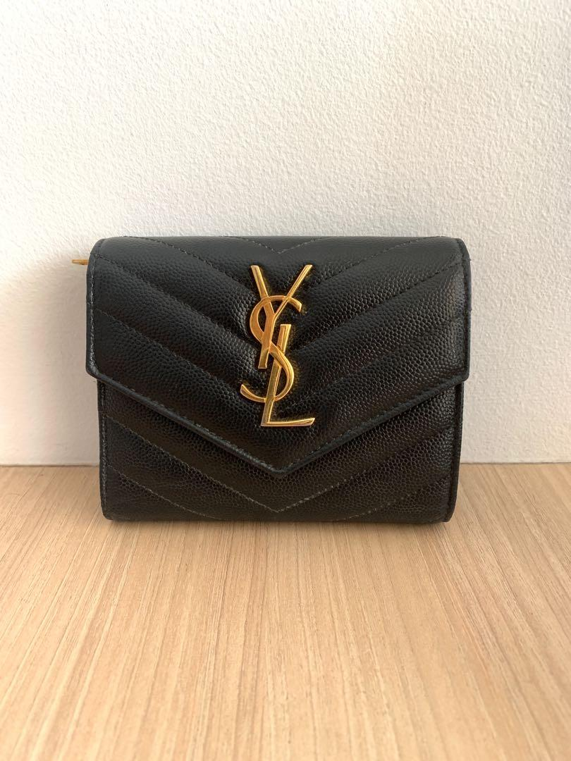 SAINT LAURENT WALLET WITH INTERLACED YSL METAL INITIALS AND QUILTED OVERSTITCHING