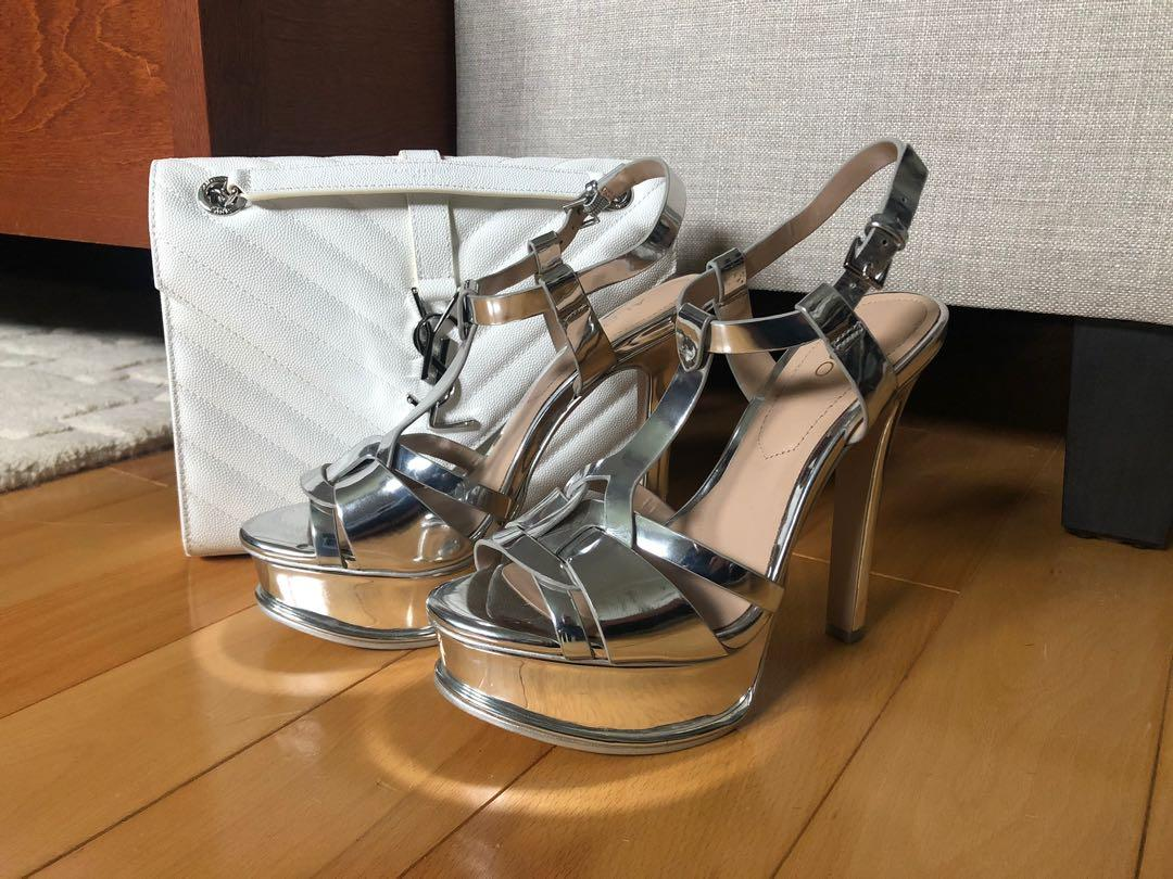 Silver Metallic Open Toe Heels / Pumps - Aldo