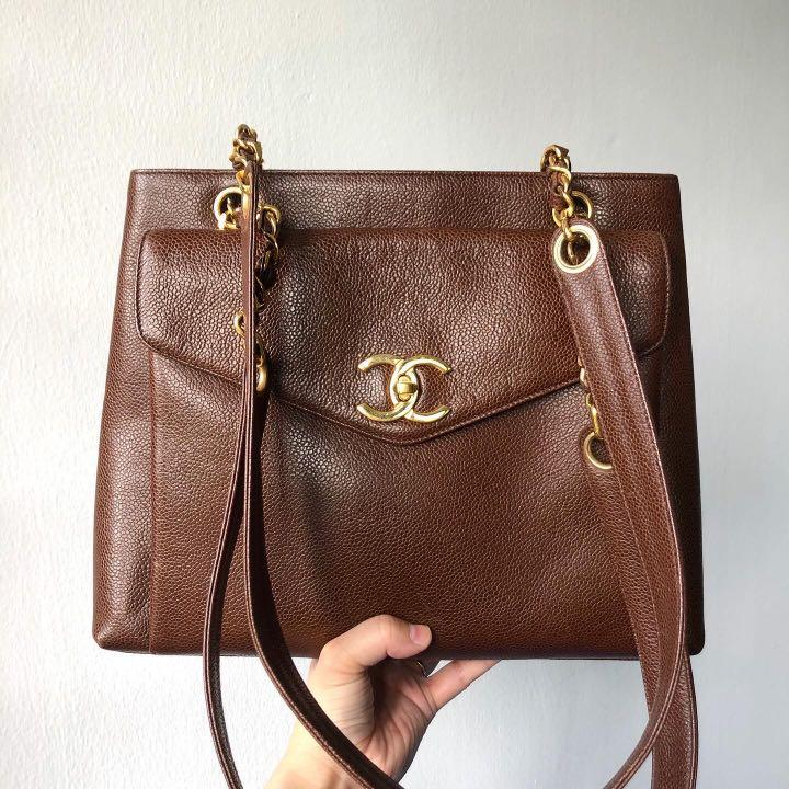 SOLD BEFORE LISTING HERE: Authentic Chanel Brown Caviar Tote bag w 24k Gold Hardware