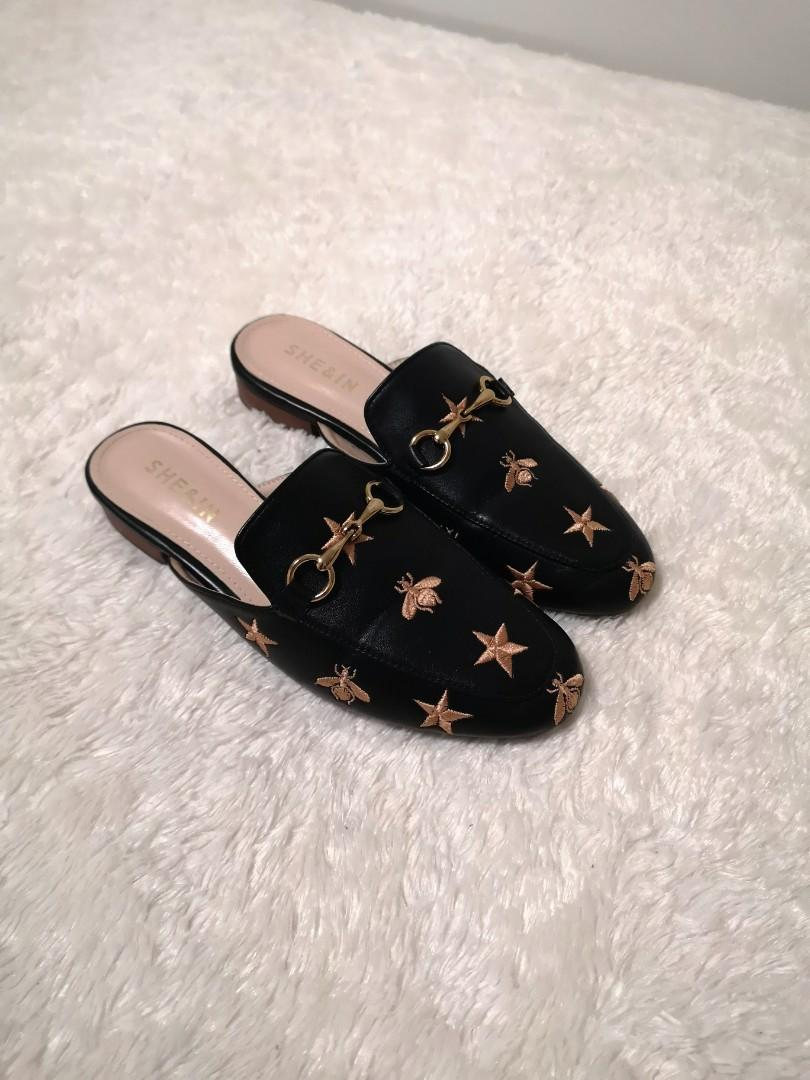 Star and bee flat mules
