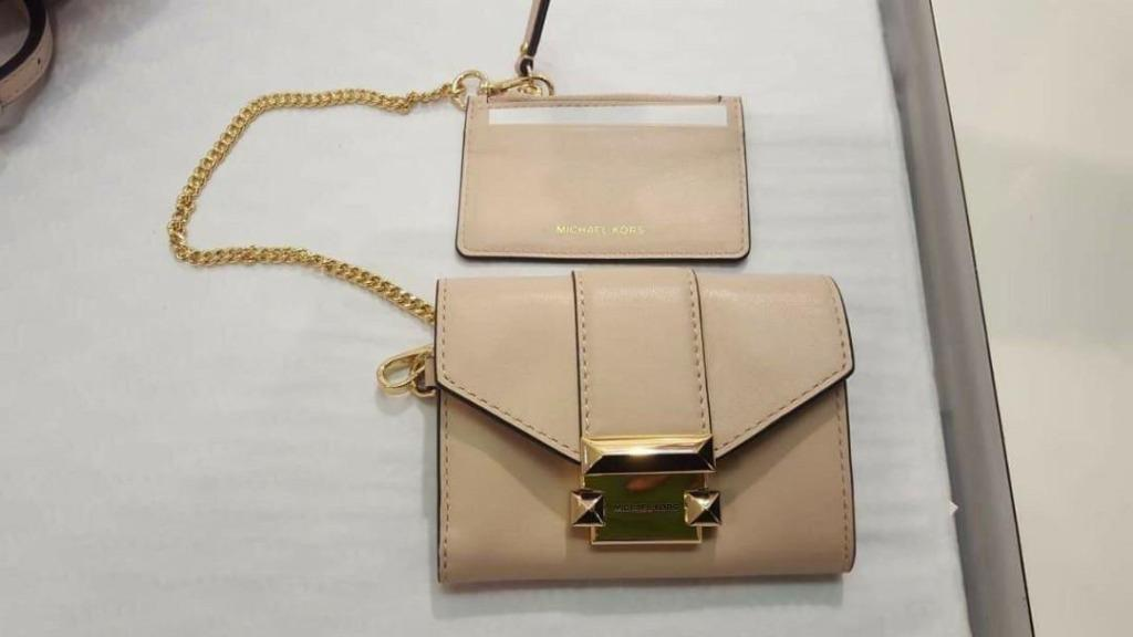 Michael Kors Women's Pink Ladies Whitney Small Leather Chain Wallet