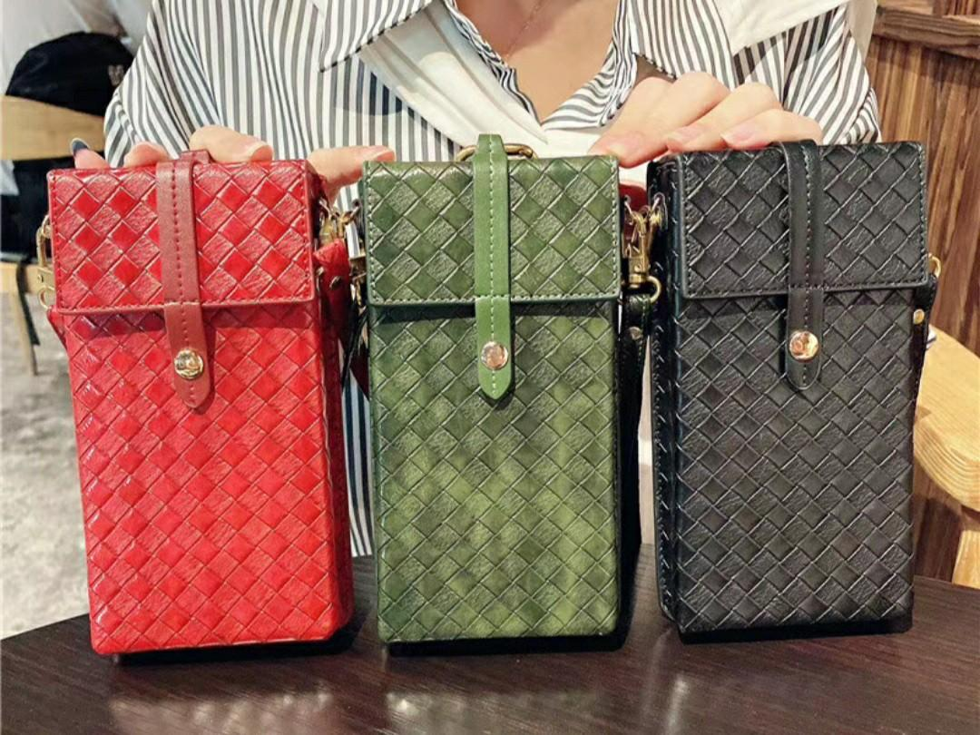 Weave PU Leather Small Phone Bag