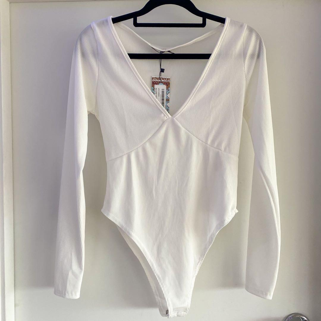 White V Neck Bodysuit