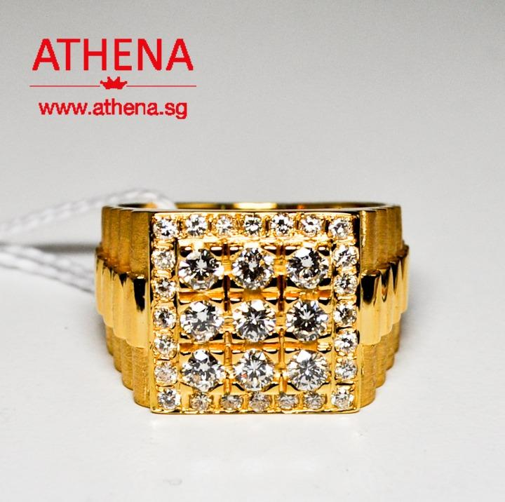 JW_DR_1353  JEWELLERY 916 YG DIAMOND RING D9-0.90CTS D24-0.55CTS 16.88G