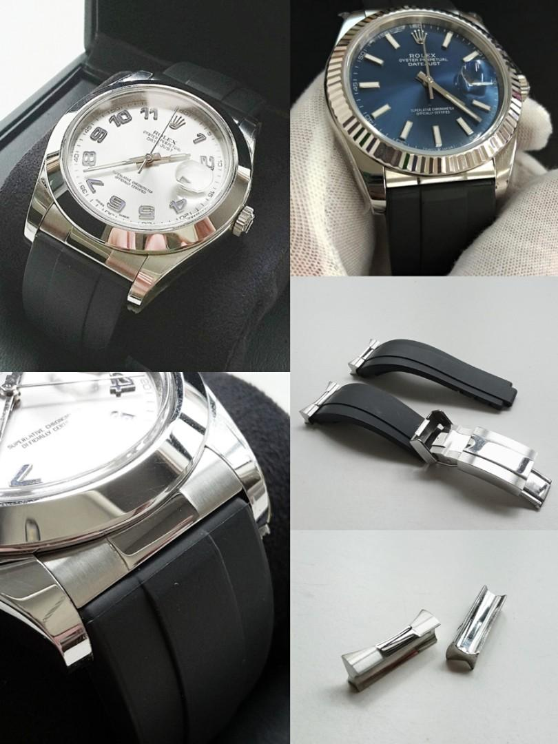 21mm STAINLESS STEEL ENDLINK COMPLETE WITH 21mm RUBBER STRAP AND SS CLASP FOR ROLEX DATEJUST 41MM, DATEJUST2 & EXPLORE2 42MM (PRICE INCLUDES FITMENT)