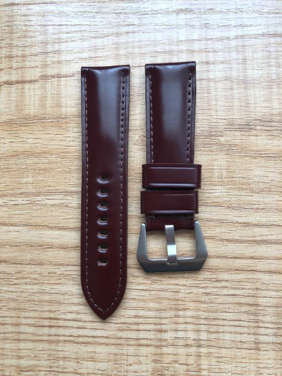 24mm Burgundy/Wine Red Shell Cordovan Leather Watch Strap