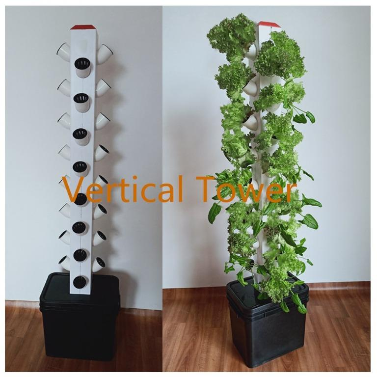 32 pots hydroponics vertical system for home with led lighting