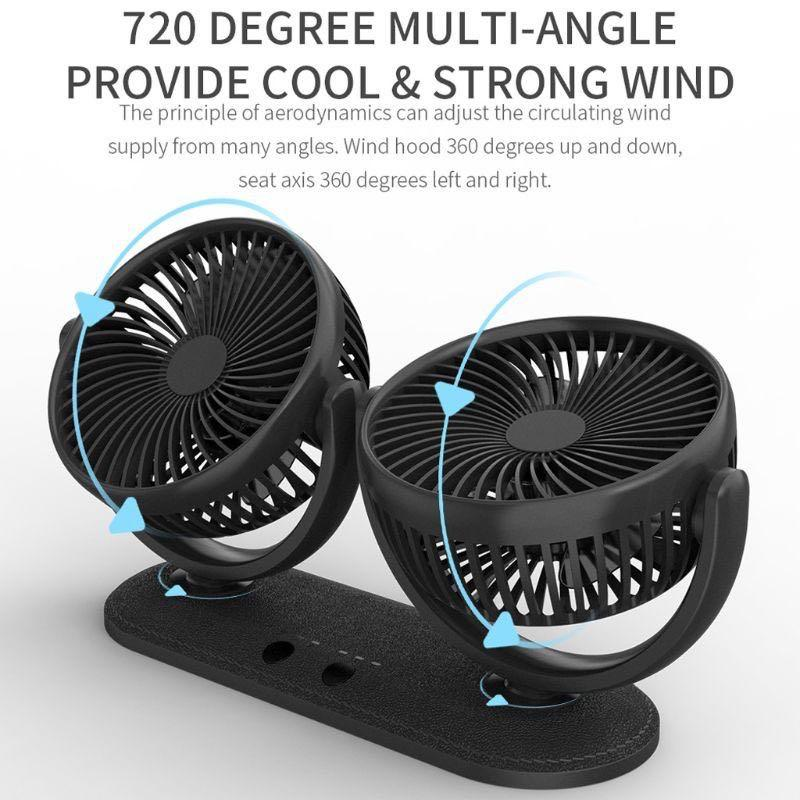 Bundle 2 x 360 rotatable head car fan
