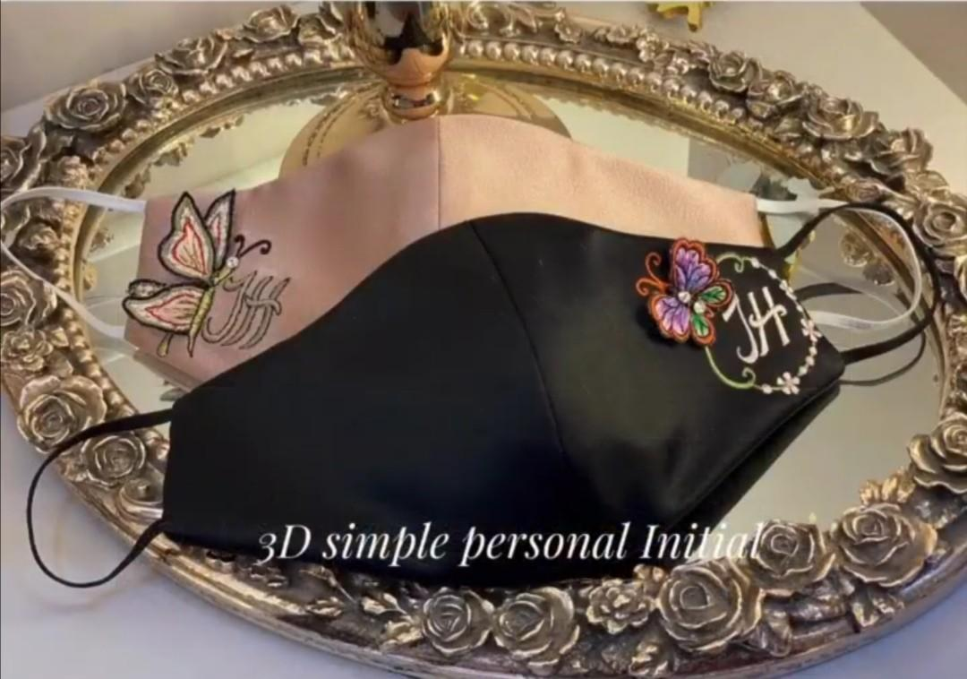 3D personal initial embroidery reusable mask