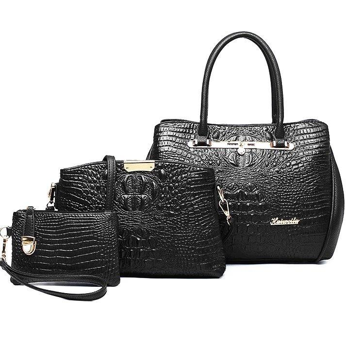 3pcs set fashion crocodile handbag PU Leather tote women shoulder handbag crossbody messenger bag clutch purse