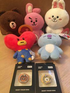 7 inches BT21  & Line Friends Plush Toy & Finger Ring