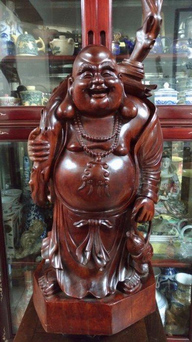 紅檀大木雕/高82公分寬36公分深40公分重量33.5公斤/早期收藏值得珍藏/櫥窗藝品/古色古香/文人氣息