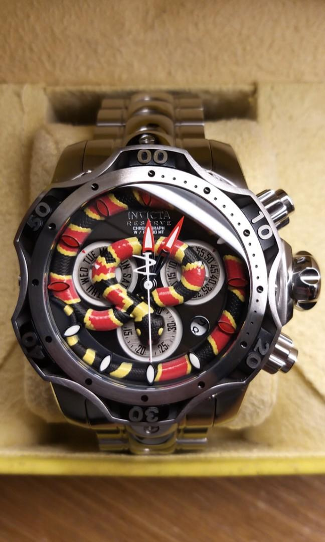 全新英威塔~千米立體珊瑚蛇銀鋼石英錶