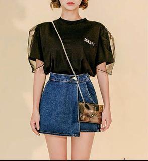 正韓 牛仔褲裙(售黑色)