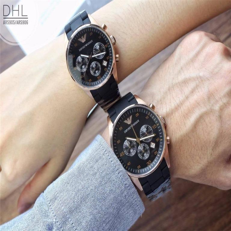 💥  Fashion Deals 💥  Emporio Armani Sportivo Black Couple Watch